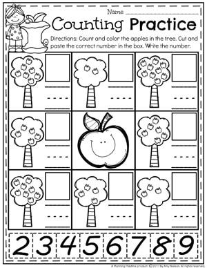 Apple Counting Worksheets for Kindergarten