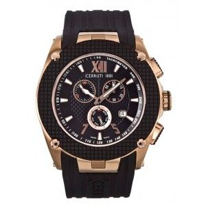 Cerruti 1881 Valente CRA016D224G Men's Chronograph IP Rose Gold Silicone Watch