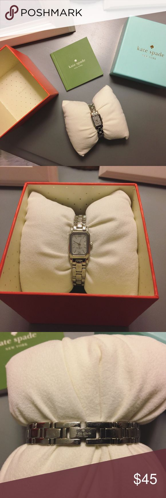 Kate Spade Watch ‼️SALE‼️ If you like this watch, buy it now as I will be raising the price to what it's worth ($80) after 12h! Gorgeous silver Kate Spade watch in great condition. Comes with original box, pillow, care card (all three in mint condition), and extra link. One of my favorite pieces of arm candy, but I'm a gold-tone type of girl these days. It does need a new battery as it's been hanging out in its box - should be $8 at the grocery store, price reflects the inconvenience! $40 w…