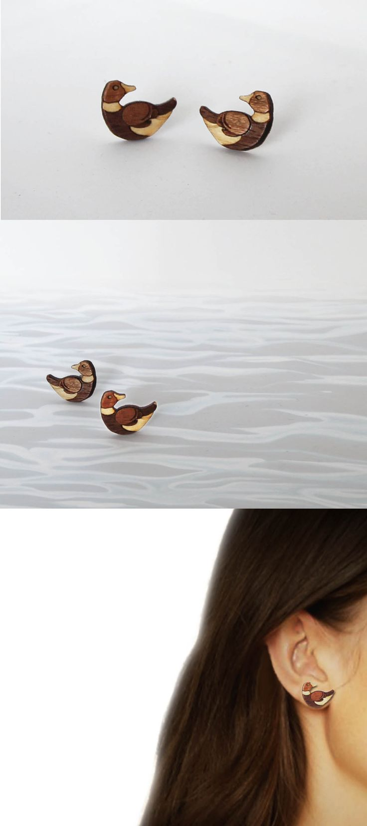 best images about laser cut products wooden these duck earrings are laser cut out of birch plywood walnut and mahogany veneer