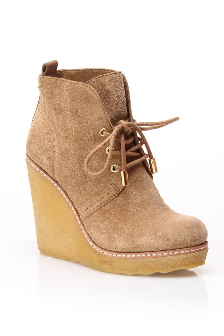 Tory Burch Denise Wedge Booties In Leather.