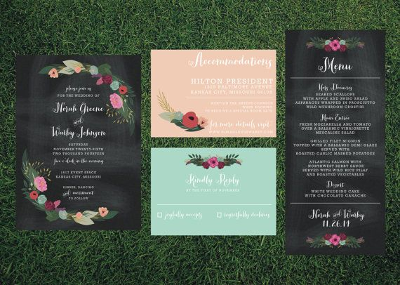 Chalkboard Floral Wedding Suite // Printed Sets by blacklabstudio