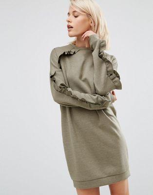 Трикотажное платье с оборками ASOS