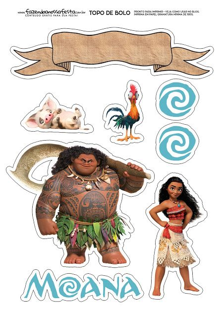 Moana: Free Printable Cake Toppers.