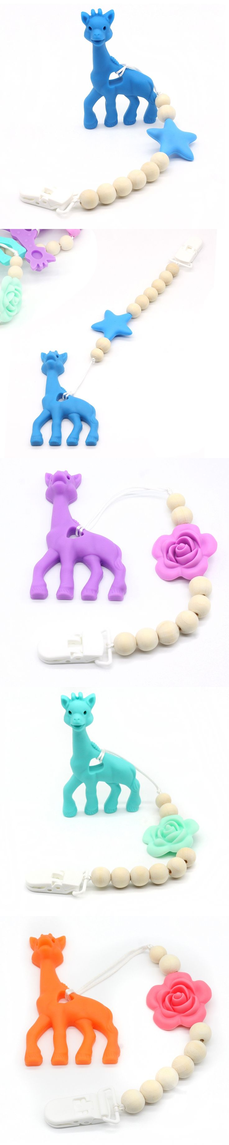 Silicone Giraffe Teething Pacifier Clip Giraffe Teether Toy Silicone Chew Teething Pacifier Clip Baby Carrier Teething Accessory