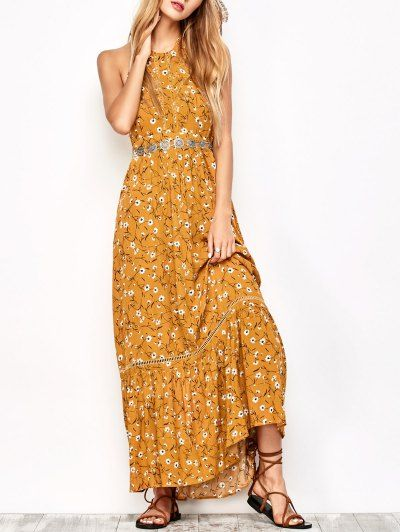 SHARE & Get it FREE | Halter Maxi Tiny Floral Beach Dress - Yellow OcherFor Fashion Lovers only:80,000+ Items • New Arrivals Daily Join Zaful: Get YOUR $50 NOW!