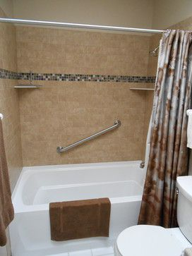 Main Bathroom Update Included New Tub, 3x6 Porcelain Tile Walls, Solid  Surface Shampoo Shelves