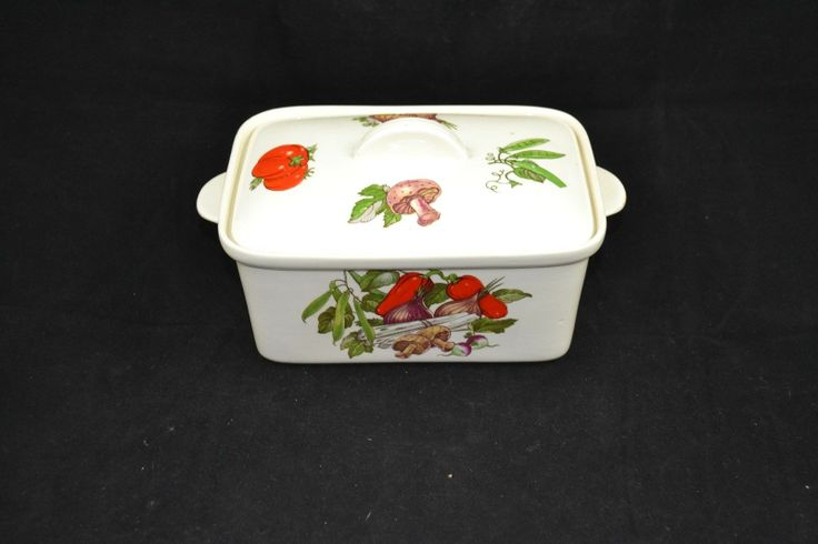 Norsk Flint Egersund Norway Covered Dish Decorated with Vegetables | eBay