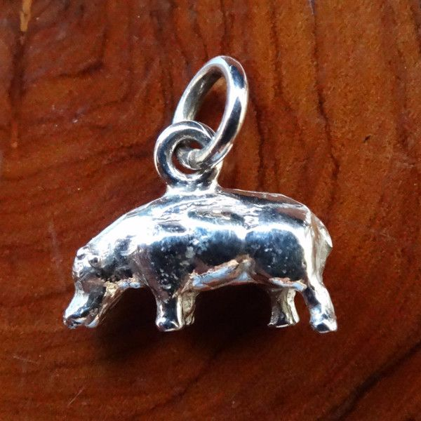Hippo Full Body Charm. In Sterling Silver or Gold - GoodiesHub.com