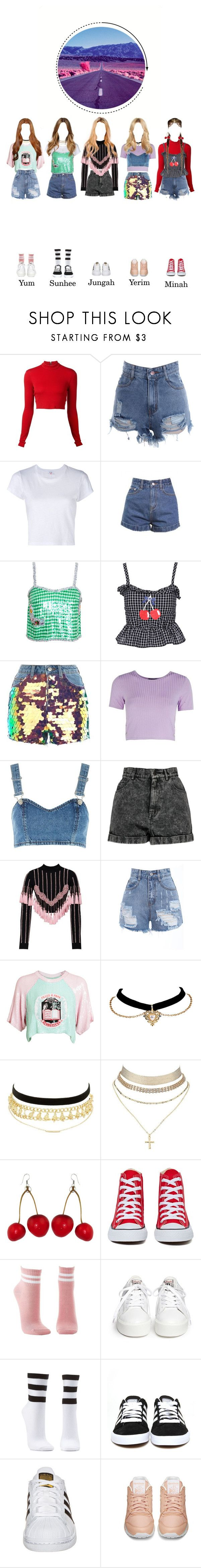 """SOLAR_BOOM_Music Video"" by solarofficial ❤ liked on Polyvore featuring Alice + Olivia, RE/DONE, Ashish, Topshop, Boohoo, Retrò, Filles à papa, Charlotte Russe, Converse and Ash"