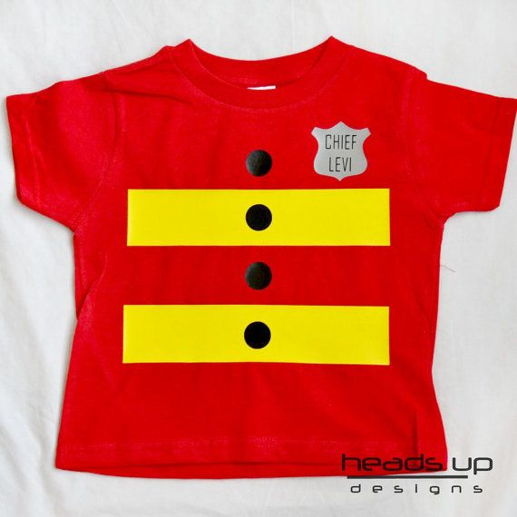 Fireman Shirt Personalized Costume Toddler Fire by HeadsUpandUp