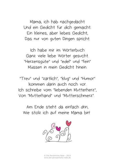 die pers nliche note freebie muttertagsgedicht f r kinder freebies kleine geschenkideen. Black Bedroom Furniture Sets. Home Design Ideas