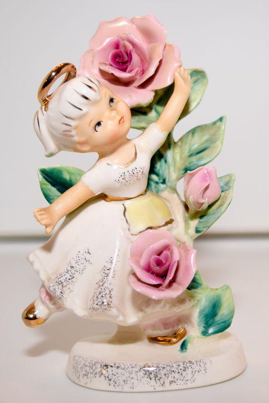 Vintage Lefton China Girl Angel - June, Flower Girl of the Month (985)