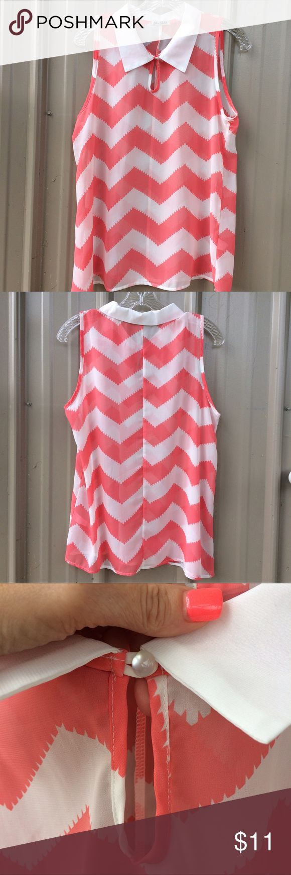 Chiffon🌺 Chevron Blouse A delicate, sleeveless blouse that is in like new condition. It's white with a peachy coral color. No size listed but fits like a small to medium. Blue Sketch Tops Blouses
