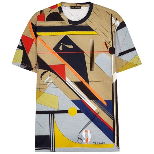 Versace Printed Cotton T-shirt - Size L (865 CAD) ❤ liked on Polyvore featuring men's fashion, men's clothing, men's shirts, men's t-shirts, colorful mens dress shirts, versace mens shirt, mens cotton shirts, mens cotton t shirts and versace mens t shirt