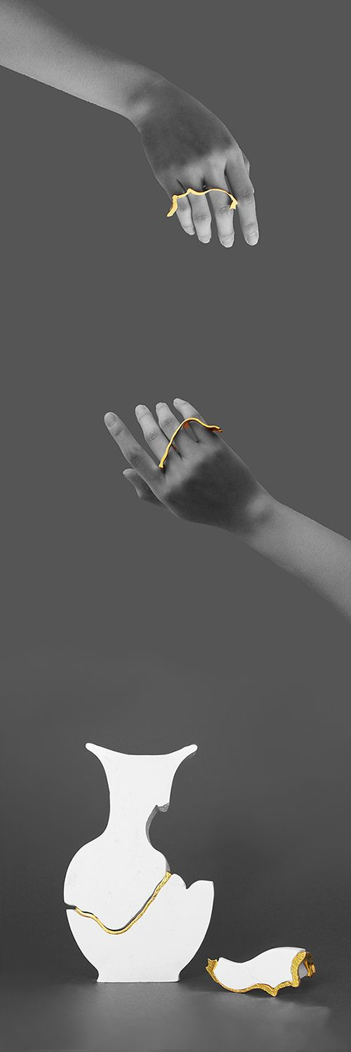 Isabella Liu Pieces: Mending - Double Rings in a Big Ceramic Pottery, 2014 Ceramic, gold plated metal 20 x 12.3 x 6.2cm Object and jewellery