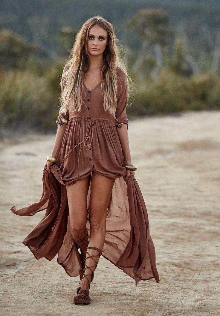 Bohemia Gypsy Beach Button Maxi Dress