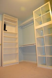 Ikea Billy bookcase for shoe wall and stacked expedit shelving in master closet Exposed closet looks like builtin wall unit