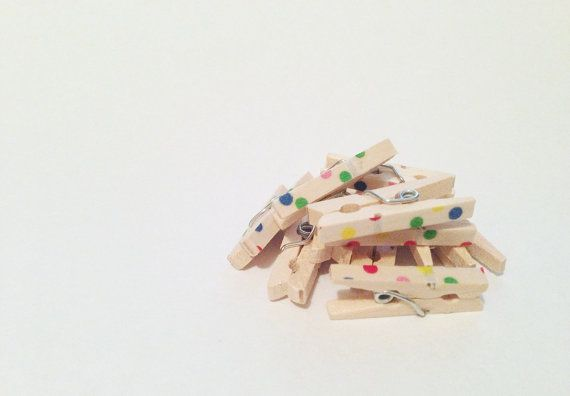 Confetti  Baby Washi Covered Wooden Clothes by BellePetitFleur