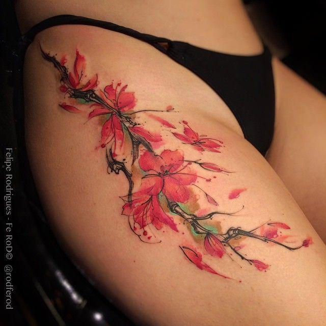 Best 25+ Thigh tattoo watercolor ideas on Pinterest ...