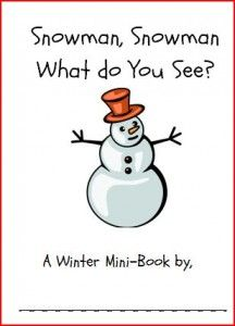 FREE Snowman, Snowman What do you See printable book from playing with words 365.com