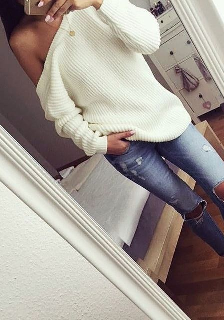 Cream One-Shoulder Sweater – Lookbook Store