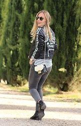 Eniwhere Fashion - Zaful Leather Jacket, Stradivarius Stripes Tshirt, Zara Jeans, Deichmann Black Booties, Furla Metropolis, Ray Ban Aviator Sunglasses - Print PU Leather Jacket