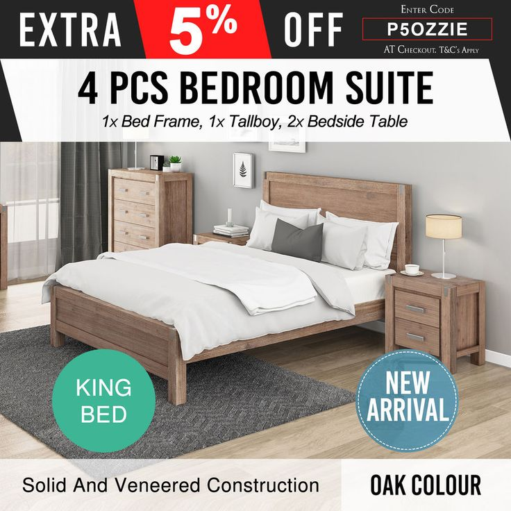 King Size Bedroom Suite MDF Oak 4Pcs Nowra ✪ Pre Sale ✪ ETA- 15th Nov 2017 ✪