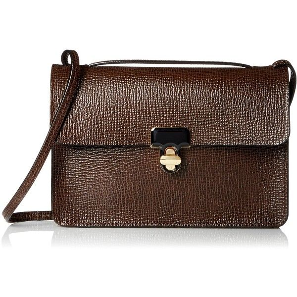 Orla Kiely Textured Leather Sweet Pea Shoulder Bag (595 SAR) ❤ liked on Polyvore featuring bags, handbags, shoulder bags, brown handbags, orla kiely, orla kiely shoulder bag, long purses and orla kiely handbags
