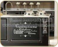 Vinilos Decorativos para Cocina 05 | Cocina con diferentes tipografias http://vinilosdecorativosmx.com/vinilos-para-pared/vinilos-de-cocina