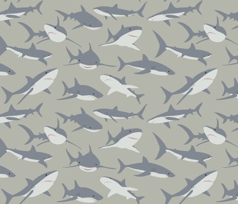 Pin By StephanieCake On Spoonflower Love Pinterest Shark Fabric Cool Shark Pattern