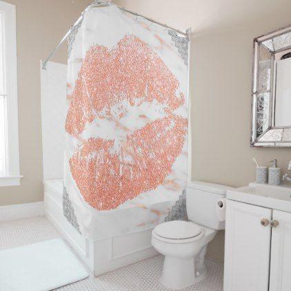 Elegant Rose Gold Marble Lips Shower Curtain