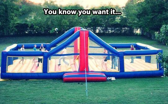 Bouncy volleyball court…Who wouldn't want this?!?!?!??