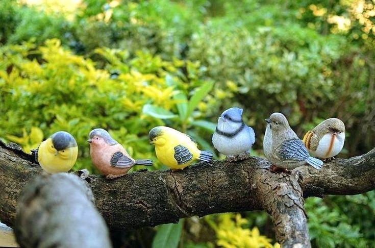 Garden Statues Birds Playful Magpie Birds Statue Outdoor Artificial Bird Resin Bird 6 Pieces A Set Garden Decor Home