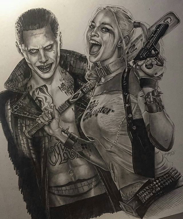 Harley and Joker pencil drawing by @tonysklepictattoo #artistinspired #theartisthemotive .