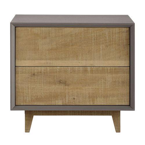 Table de chevet avec tiroirs grise L 50 cm
