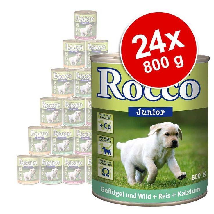 Animalerie  Lot Rocco Junior 24 x 800 g pour chien  dinde cœur de veau calcium