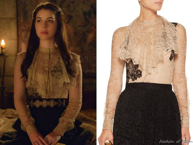 "fashion-of-reign:  In the episode 3x12 (""No Way Out"") Queen Mary wears this sold out Valentino Silk-Lace Blouse. Worn with Gillian Steinhardt labyrinth and signet rings."