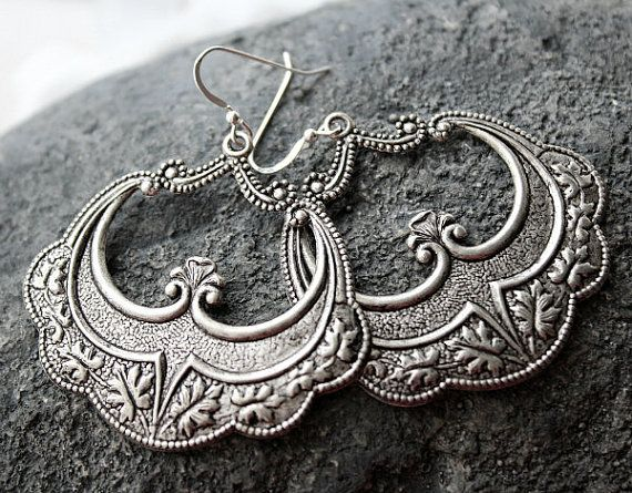 Morrocan Hoop Earrings, Arabesque Silver Dangles, Boho Earrings, Boho Jewelry, Art Deco, Boho Jewelry