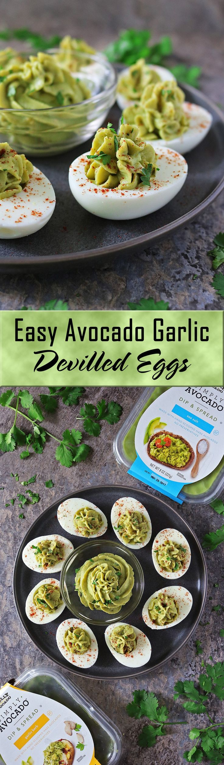 Make these Easy Deviled Avocado Garlic Eggs for any holiday parties you're attending or hosting! It's a perfect appetizer.