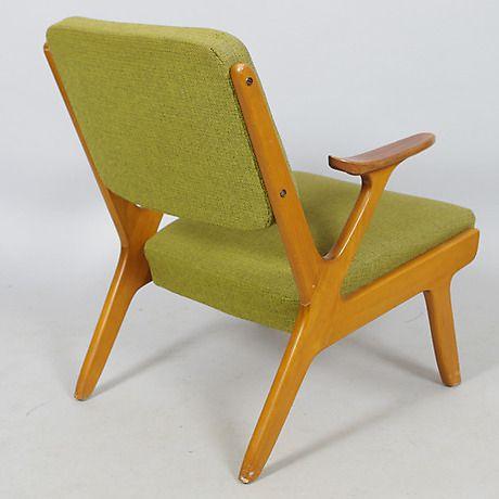 SOFFA SAMT FÅTÖLJ, grön klädsel/teak/bok. Möbler - Soffor & Sittgrupper – Auctionet