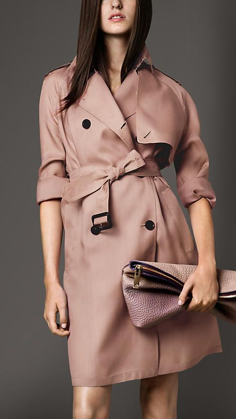 Long Oversize Detail Silk Trench Coat | Burberry