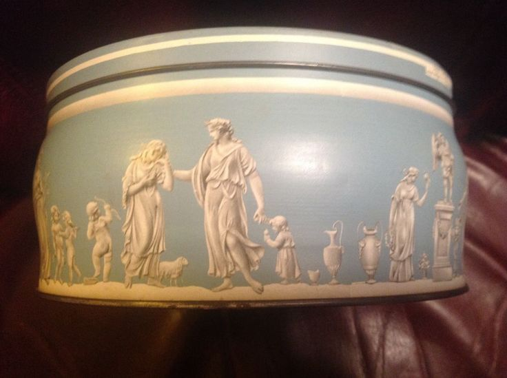 Murray Allen Regal Crown Blue Wedgwood Style Apollo Muses Round BISCUIT TIN vtg