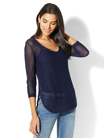Shop Soho Street Open-Weave Sweater - Navy. Find your perfect size online at the best price at New York & Company.