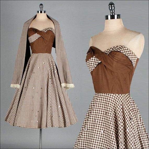 Vintage 1950s Dress . Brown Ivory Checked by millstreetvintage