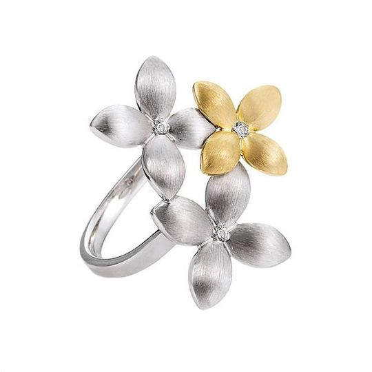 Diamond flower earrings in silver and gold