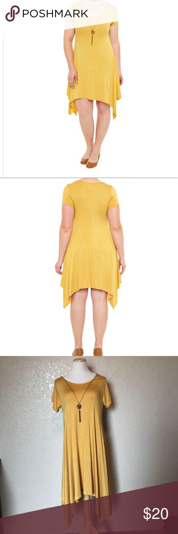 "NWT shark bite Dress with necklace. NWT shark bite Dress with necklace. Mustard yellow. Neck line to shortest hem line 36"" Dresses"