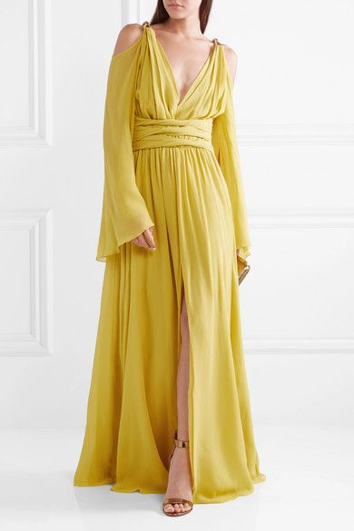 14696000b4e59 Dundas | Cold-shoulder gathered silk-georgette gown | NET-A-PORTER.COM