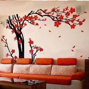 Купить товарБольшой объем памяти дерево украшение стены стикер стены гостиной диван слива красный цветы деревья обои M921 в категории Наклейки на стенуна AliExpress.      Если вы наклеить на стекло, стекло стикер 2 стиль          НОРМАЛЬНЫЙ СТИЛЬ (палки снаружи увидеть снаружи), зеркал