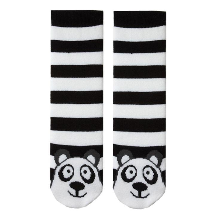 K.Bell Pair Black And White Stripe Panda Bear Tube Socks Non Skid Socks